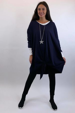 The Longline Knot Front Top Navy