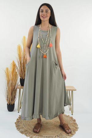 The Longline Pocket Frill Dress Mocha