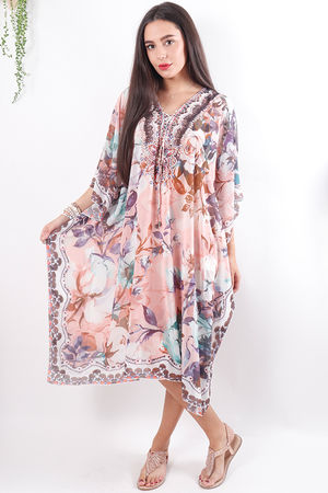 The Lopez Kaftan Dress Pinks