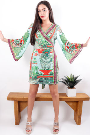 The Lopez Kimono Dress Greenery