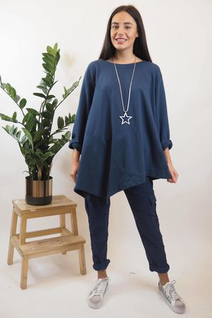The Lux Asymmetric Sweat Navy