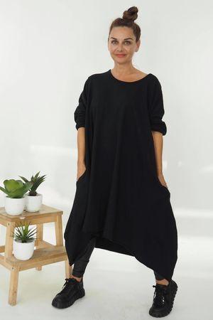 The Lux Cocoon Archie Dress Black