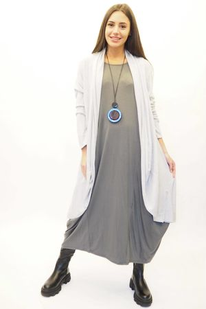The Lux fine Knit Cardigan Grey Marl