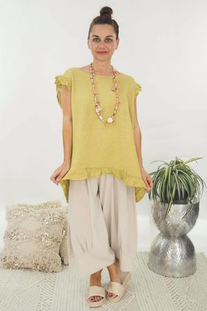 The Lux Linen Button Back Top Lime