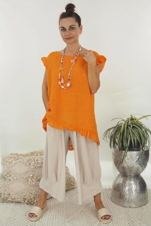 The Lux Linen Button Back Top Tangerine