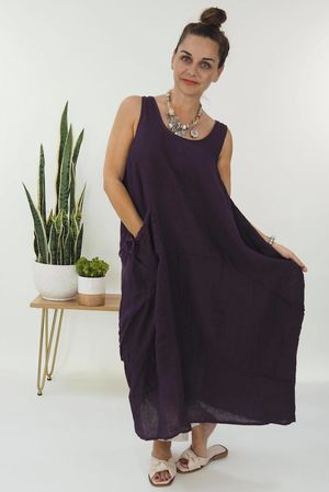 The Lux Linen Cocoon Dress Aubergine