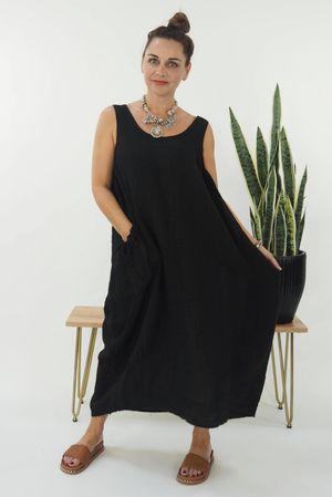 The Lux Linen Cocoon Dress Black