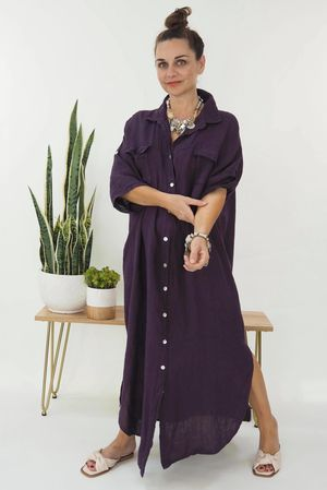 The Lux Linen Military Dress Aubergine