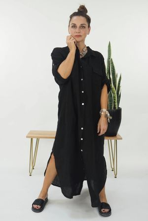 The Lux Linen Military Dress Black