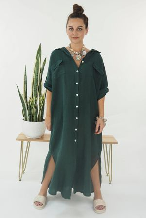The Lux Linen Military Dress Forest Green