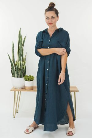 The Lux Linen Military Dress Petrol Blue