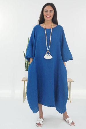 The Lux Linen Super Cocoon Dress Cobalt