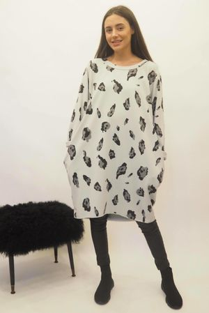 The Macro Leopard Pocket Cocoon Dress Dove
