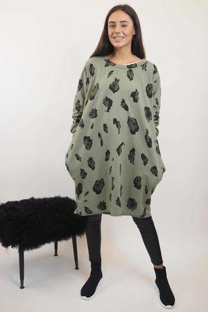 The Macro Leopard Pocket Cocoon Dress Khaki