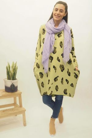 The Macro Leopard Pocket Cocoon Dress Lime