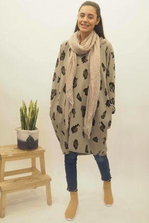 The Macro Leopard Pocket Cocoon Dress Stone