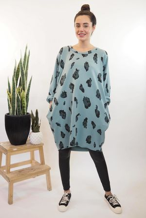 The Macro Leopard Pocket Cocoon Dress Sage