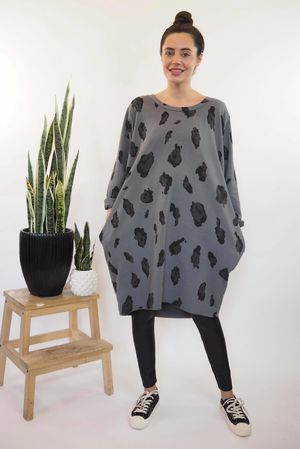 The Macro Leopard Pocket Cocoon Dress Slate