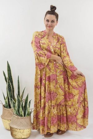 The Majorca Abstract Smock Maxi Dress Ochre