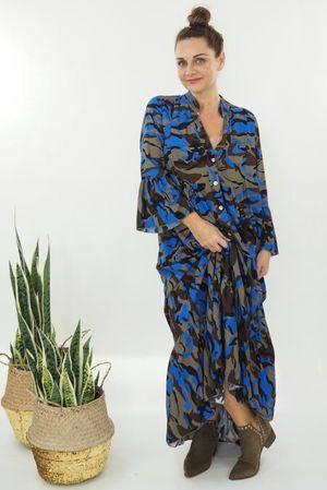 The Majorca Camo Smock Maxi Dress Cobalt
