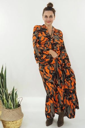 The Majorca Camo Smock Maxi Dress Orange