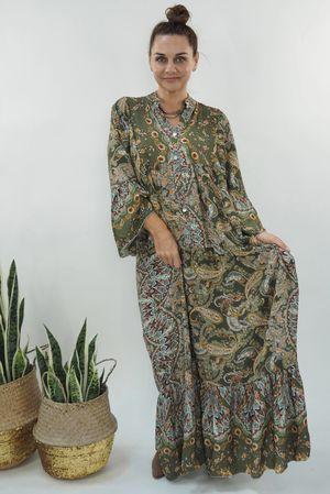 The Majorca Hackney Smock Maxi Dress Khaki