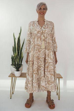 The Majorca Smock Maxi Dress Stone