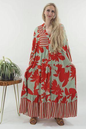 The Majorca Tropical Smock Maxi Dress Red & Sage
