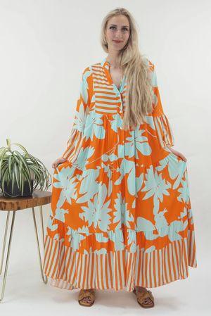 The Majorca Tropical Smock Maxi Dress Tangerine & Duck Egg