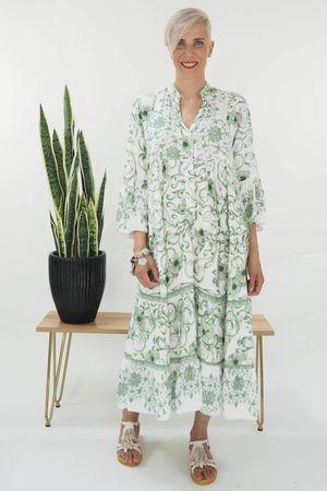 The Majorca Wedgewood Smock Maxi Dress Greens