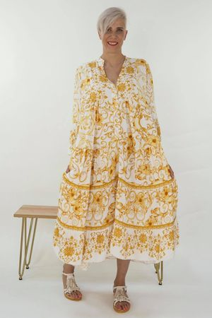 The Majorca Wedgewood Smock Maxi Dress Ochre