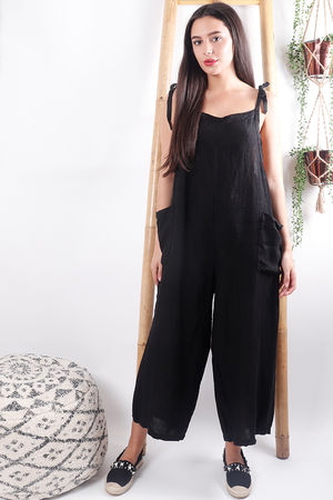 The Mama Mia Linen Dungarees Black