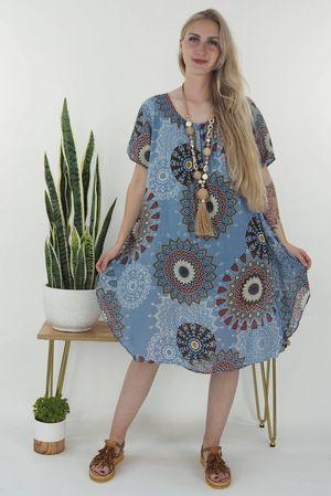 The Mandala Cheesecloth Shift Dress Denim