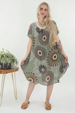 The Mandala Cheesecloth Shift Dress Khaki
