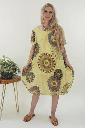 The Mandala Cheesecloth Shift Dress Lime