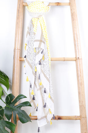 The Marrakesh Tassel Scarf Sunshine Yellow