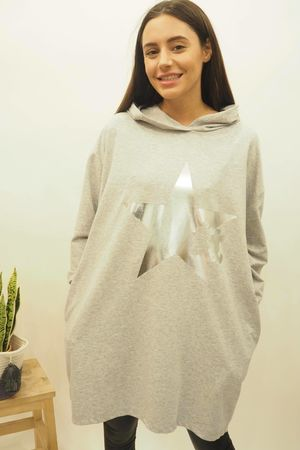 The Mickey Cut Out Hoody Grey Marl