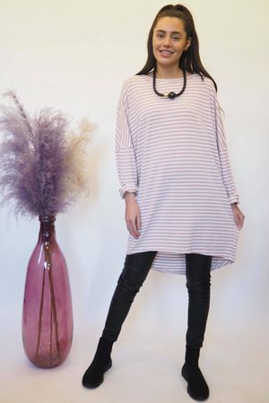 The Micro Stripe Breton Slouch Top Dirty Rose