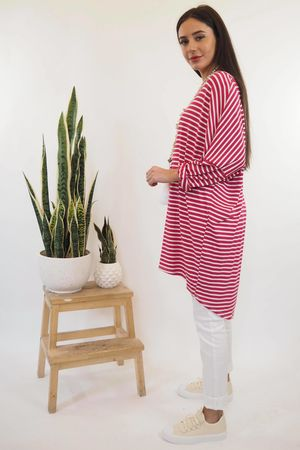 The Micro Stripe Breton Slouch Top Hot Pink