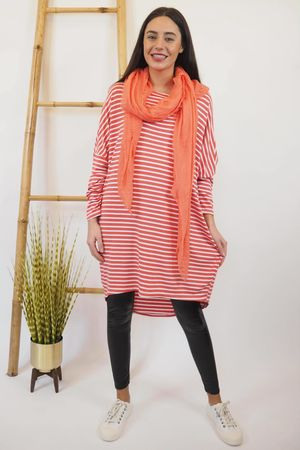 The Micro Stripe Breton Slouch Top Coral