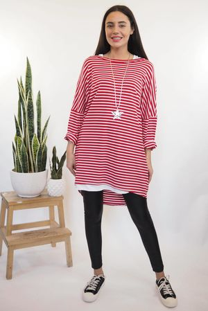 The Micro Stripe Breton Slouch Top Red