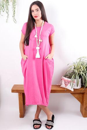 The Midi T Shirt Dress Fuchsia