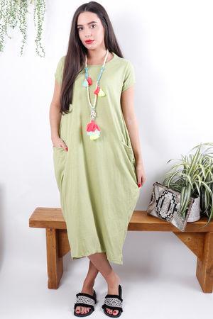 The Midi T Shirt Dress Olive Lime