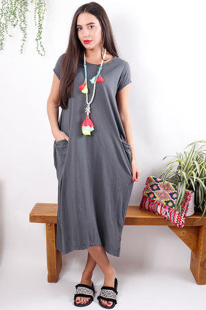 The Midi T Shirt Dress Slate