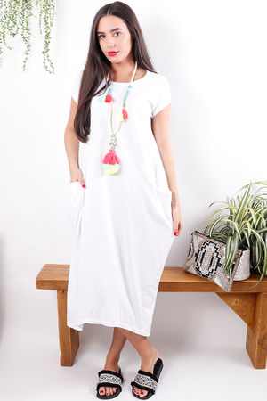 The Midi T Shirt Dress White