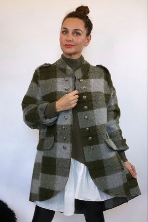 The Military Check Wool Jacket Khaki and Grey