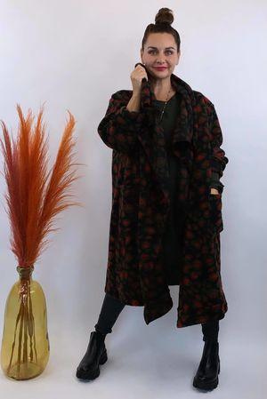 The Multi Cheetah Oversized Blanket Coat Black & Red