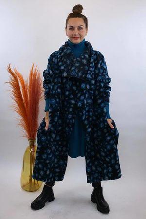 The Multi Cheetah Oversized Blanket Coat Black & Teal