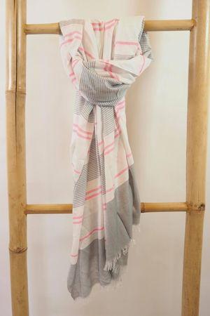 The Multi Stripe Raw Edge Scarf Grey And Neon Pink