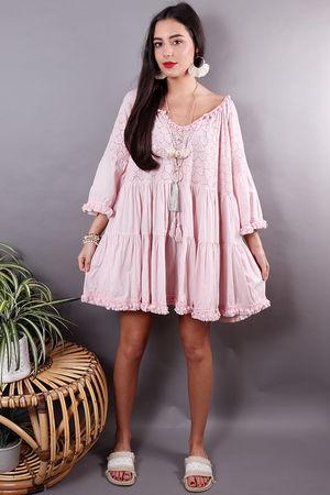 The Mykonos Pom Pom Dress Rose